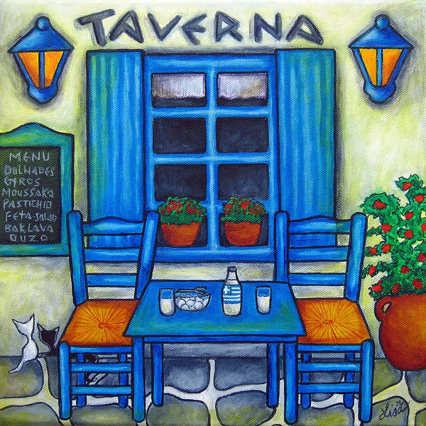 Blues Art Print featuring the painting Table for Two in Greece by Lisa Lorenz