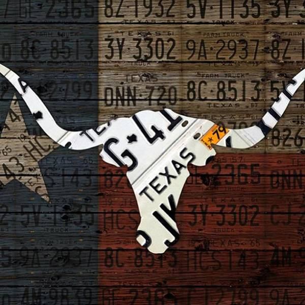 Art Art Print featuring the photograph #texas #longhorn #recycled #vintage by Design Turnpike