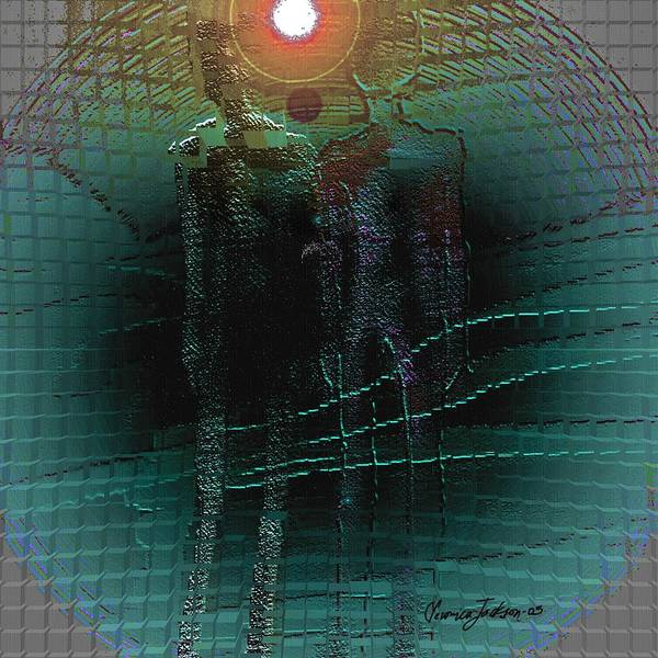 People Alien Arrival Visitors Art Print featuring the digital art The Arrival by Veronica Jackson