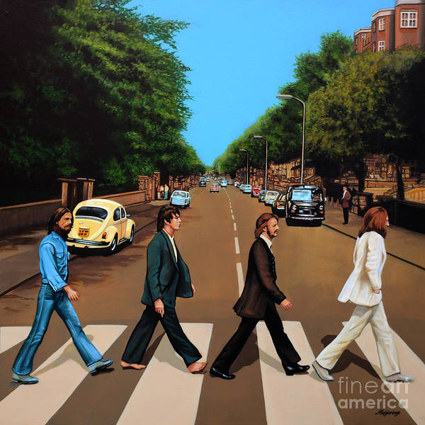 The Beatles Art Print featuring the painting The Beatles Abbey Road by Paul Meijering