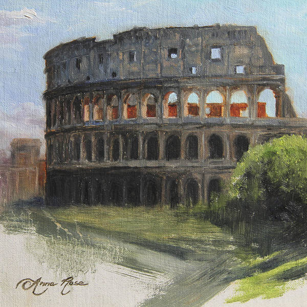Landscape Art Print featuring the painting The Coliseum Rome by Anna Rose Bain