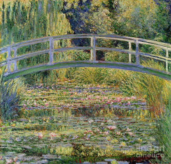 The Art Print featuring the painting The Waterlily Pond with the Japanese Bridge by Claude Monet