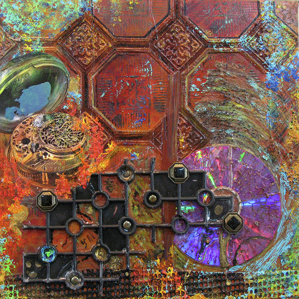 Assemblage Painting Art Print featuring the painting Time Passage I by Elaine Booth-Kallweit