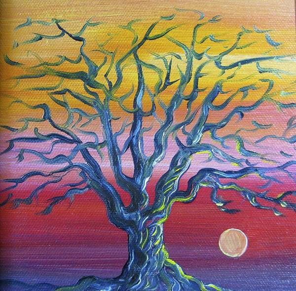 Tree Art Print featuring the painting Tree at Sunset by Karen Doyle