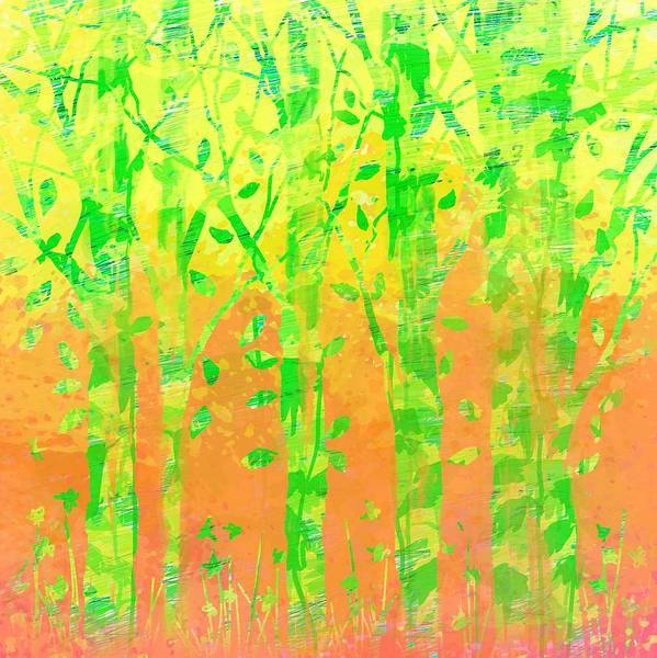 Abstract Art Print featuring the digital art Trees in the Grass by William Russell Nowicki