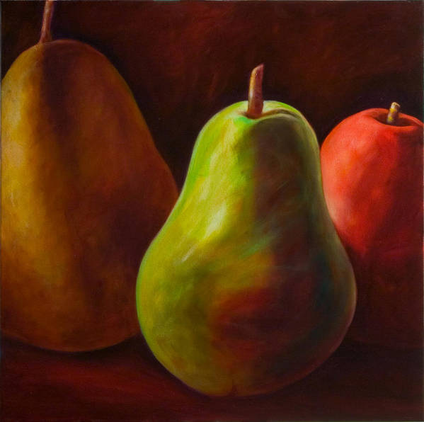 Fruit Art Print featuring the painting Tri Pear by Shannon Grissom