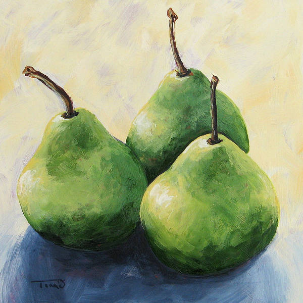 Pear Art Print featuring the painting Triplets by Torrie Smiley