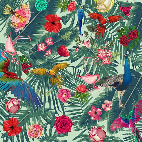 Summer Art Print featuring the digital art Tropical Fun Time by Mark Ashkenazi