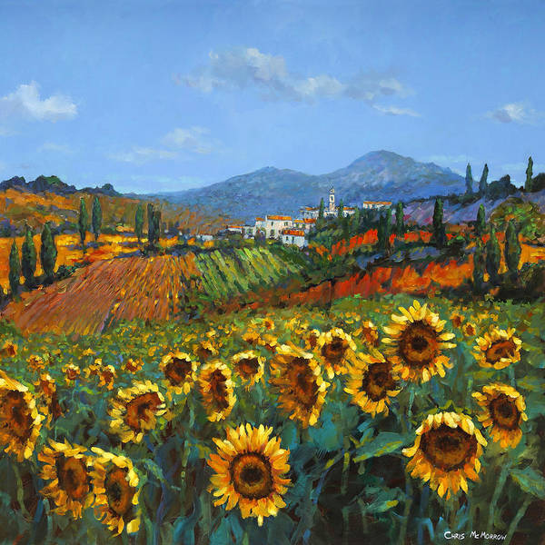 Tuscany Art Print featuring the painting Tuscan Sunflowers by Chris Mc Morrow