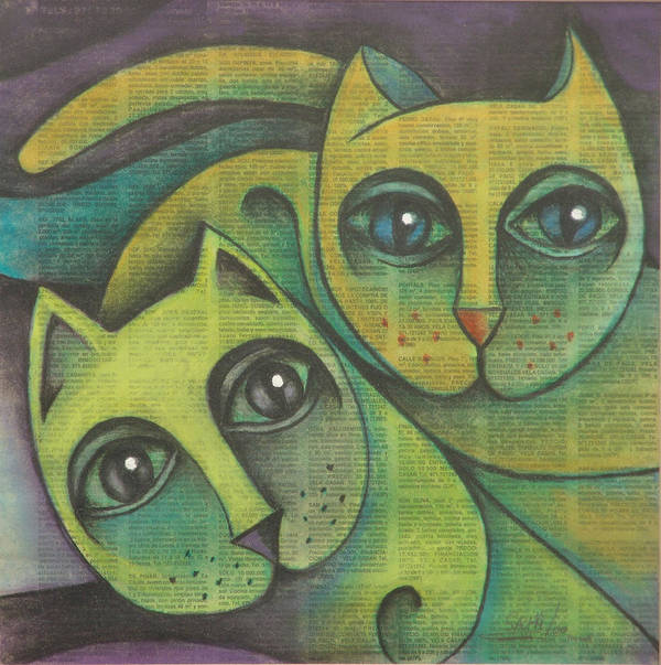 Sacha Circulism Circulismo Art Print featuring the drawing Two Cats 2000 by S A C H A - Circulism Technique