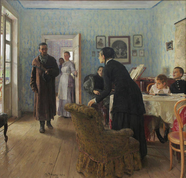 Ilya Repin Art Print featuring the painting Unexpected Visitors by Ilya Repin