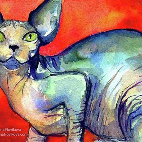 Instaartist Art Print featuring the photograph Vibrant Watercolor Sphynx Painting By by Svetlana Novikova