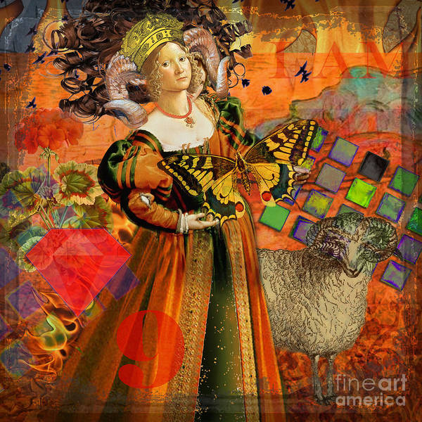 Doodlefly Art Print featuring the digital art Vintage Taurus Gothic Whimsical Collage Woman Fantasy by Mary Hubley