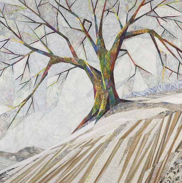 Landscape Art Print featuring the tapestry - textile Waiting Out Winter by Linda Beach