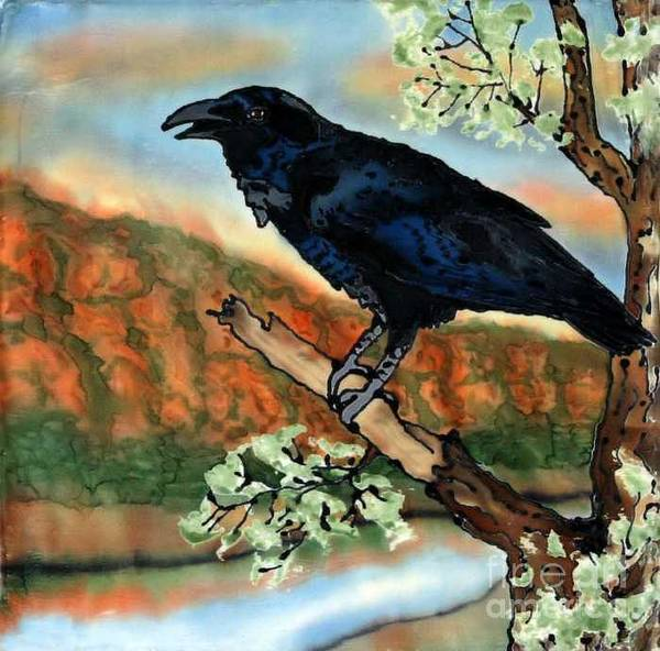 Silk Painting Art Print featuring the painting Watching the Sunset by Linda Marcille