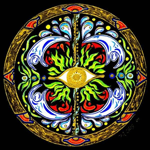 Mandala Art Print featuring the painting We Are Water by Pam Ellis