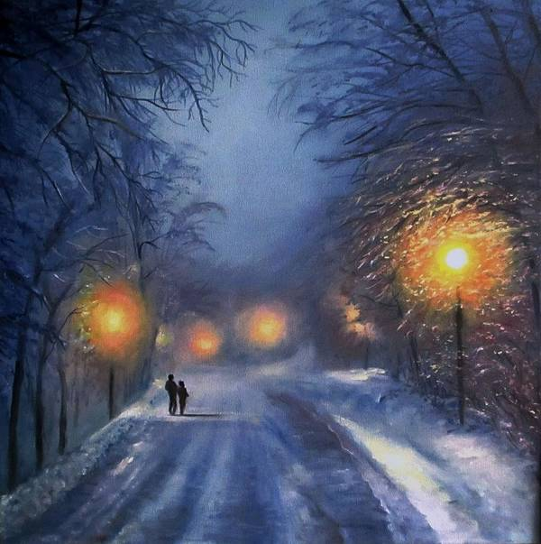 Winter Night Art Print featuring the painting Winter lights by Natalja Picugina