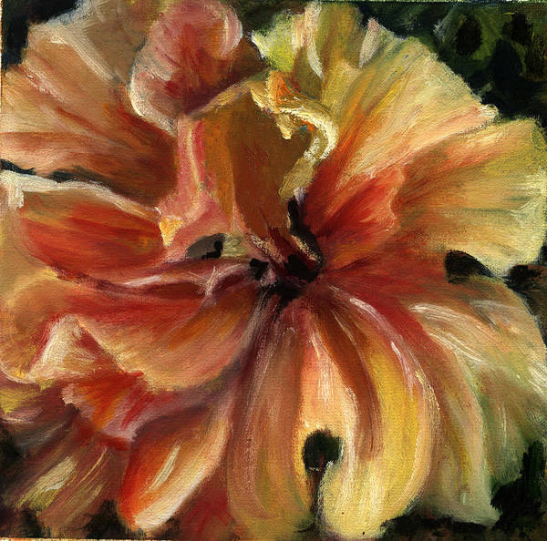 Yellow Hibiscus Floral Art Print featuring the painting Yellow Hibiscus by Patricia Halstead