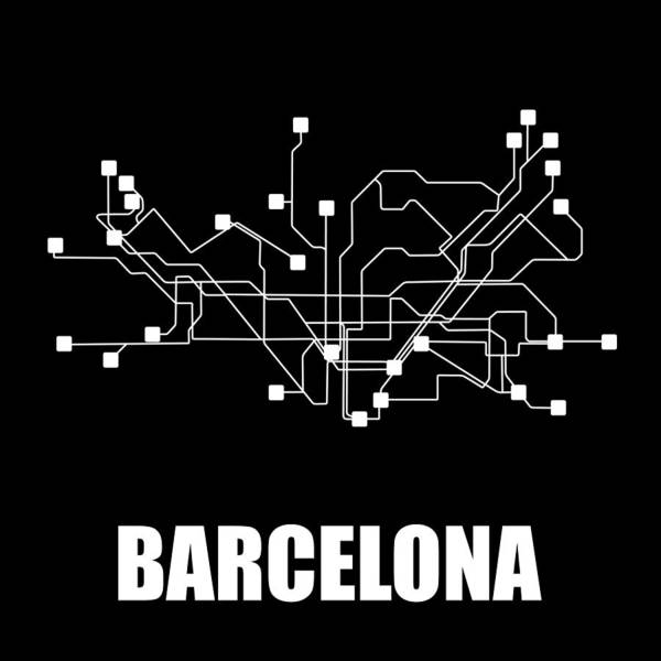 Barcelona Art Print featuring the digital art Barcelona Black Subway Map by Naxart Studio