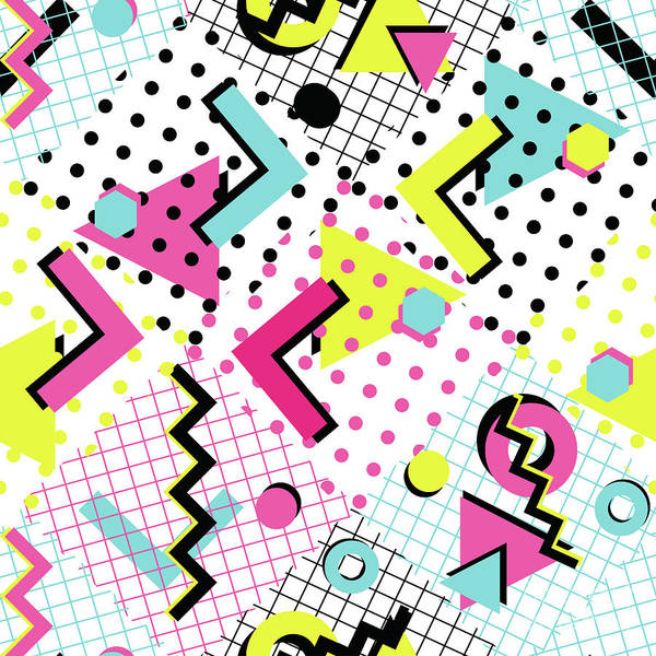 1980-1989 Art Print featuring the digital art Colorful Abstract 80s Style Seamless by Alex bond