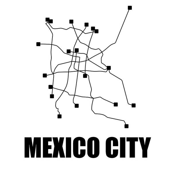 Mexico City Art Print featuring the digital art Mexico City White Subway Map by Naxart Studio