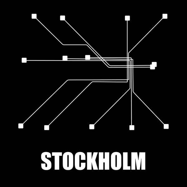 Stockholm Art Print featuring the digital art Stockholm Black Subway Map by Naxart Studio