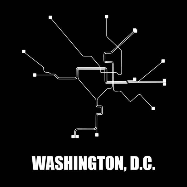 Washington Art Print featuring the digital art Washington, D.c. Subway Map by Naxart Studio