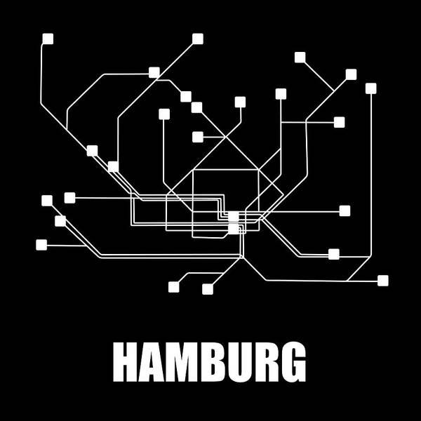 Hamburg Art Print featuring the digital art Hamburg Black Subway Map by Naxart Studio
