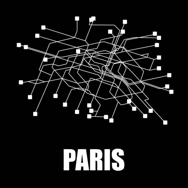 Paris Art Print featuring the digital art Paris Black Subway Map by Naxart Studio