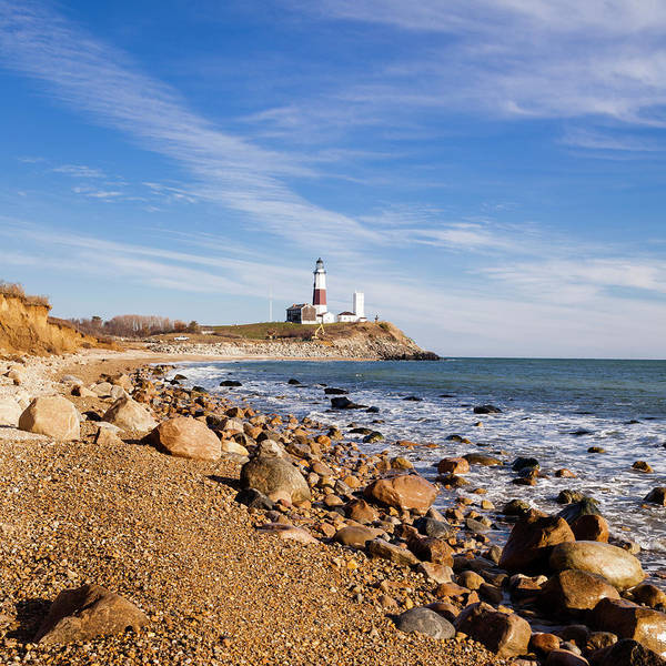 Headland Art Print featuring the photograph Lighthouse At Montauk Point, Long by Alex Potemkin