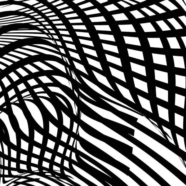 Curve Art Print featuring the digital art Abstract Black And White Stripe Shape by Shuoshu