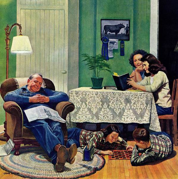 Checkers Art Print featuring the drawing After Dinner At The Farm by John Falter