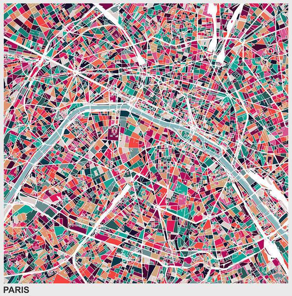 Rectangle Art Print featuring the digital art Art Illustration Style Map Of Paris City by Shuoshu