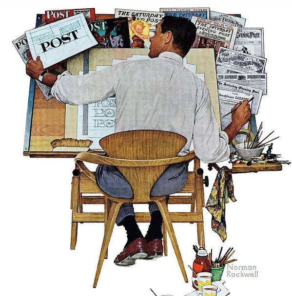 Design Art Print featuring the drawing artist At Work by Norman Rockwell