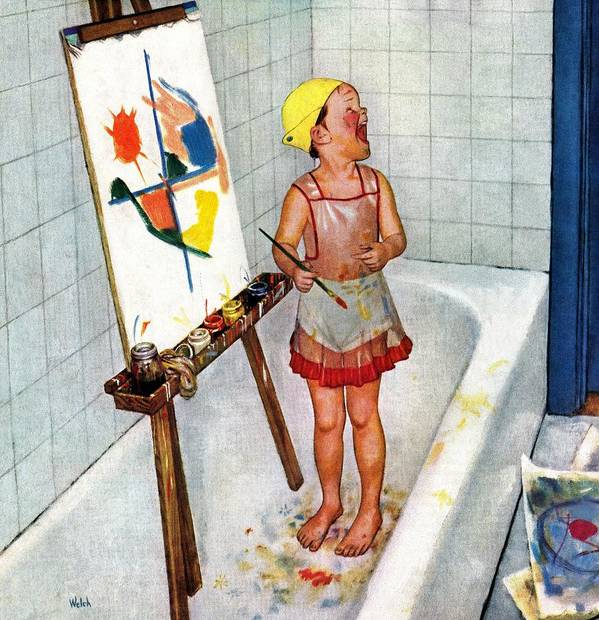 Bathtubs Art Print featuring the drawing Artist In The Bathtub by Jack Welch