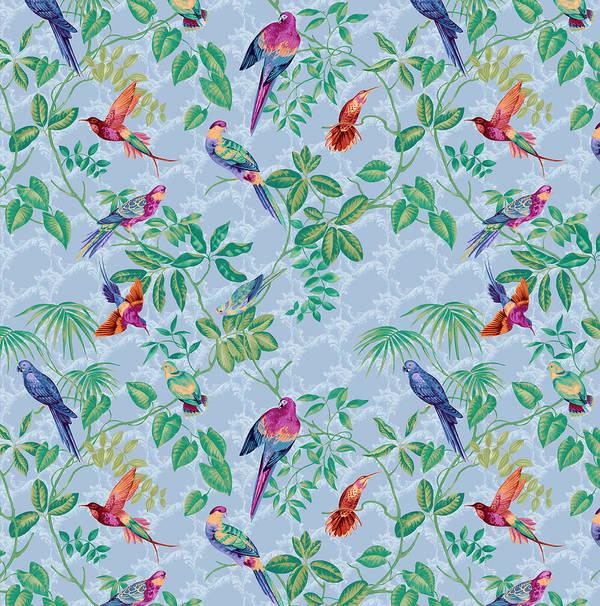 Aviary Small Scroll Periwinkle Art Print featuring the digital art Aviary Small Scroll Periwinkle by Bill Jackson