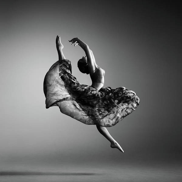 Ballerina Art Print featuring the photograph Ballerina jumping by Johan Swanepoel