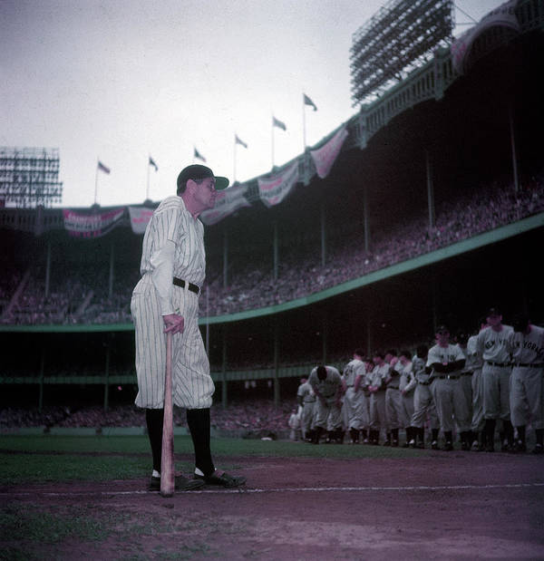 Crowd Art Print featuring the photograph Baseball Great Babe Ruth, In Uniform by Ralph Morse