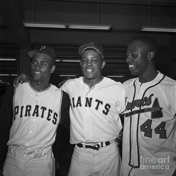 Candlestick Park Art Print featuring the photograph Baseball Players Standing Together by Bettmann