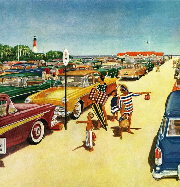 Automobiles Art Print featuring the drawing Beach Parking Lot by James Williamson