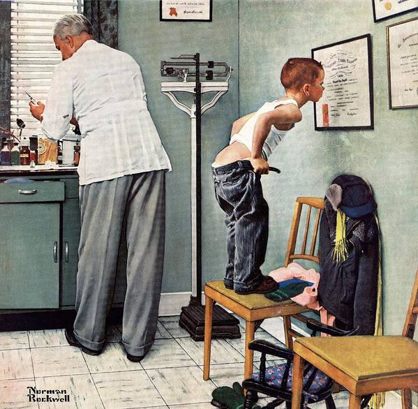 Bottoms Art Print featuring the drawing Before The Shot by Norman Rockwell