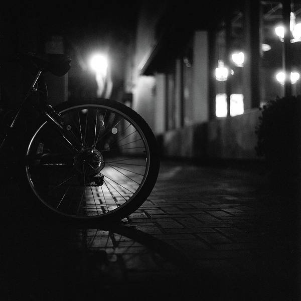 Shadow Art Print featuring the photograph Bicycle In Dark Street by Satoshi Otani