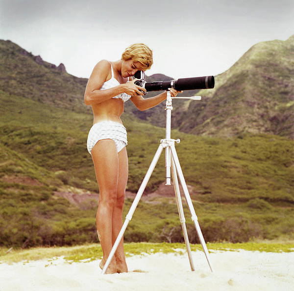 People Art Print featuring the photograph Bikini Girl And Camera by Tom Kelley Archive