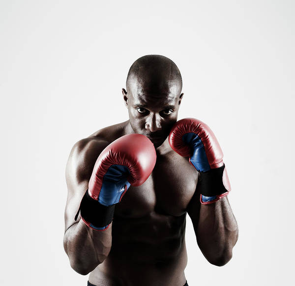 People Art Print featuring the photograph Black Male Boxer In Boxing Stance by Mike Harrington