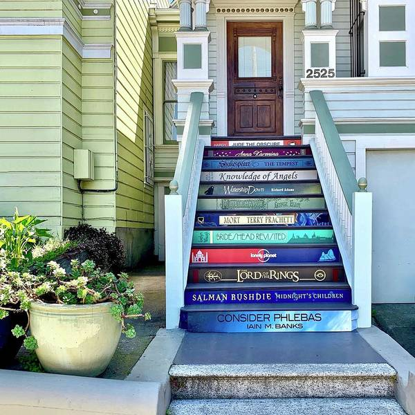 Art Print featuring the photograph Book Stairs House by Julie Gebhardt
