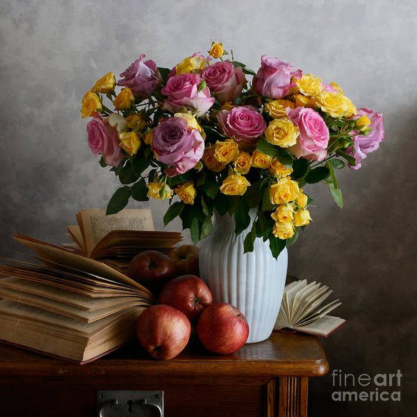 Vase Art Print featuring the photograph Bouquet Of Flowers In White Vase by Nikolay Panov
