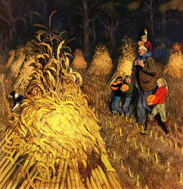 Corn Art Print featuring the drawing Bring Home Pumpkins by John Falter