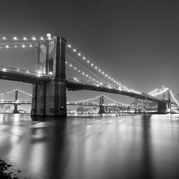 Scenics Art Print featuring the photograph Brooklyn Bridge At Night by Adam Garelick