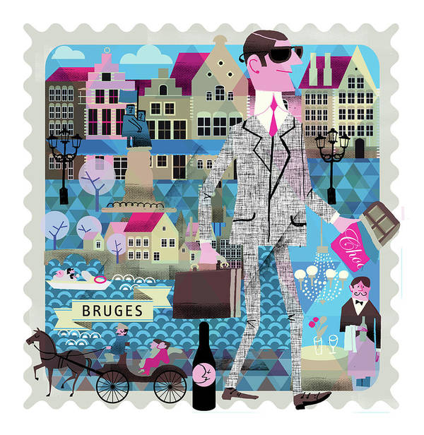 Belgium Art Print featuring the digital art Bruges by Luciano Lozano