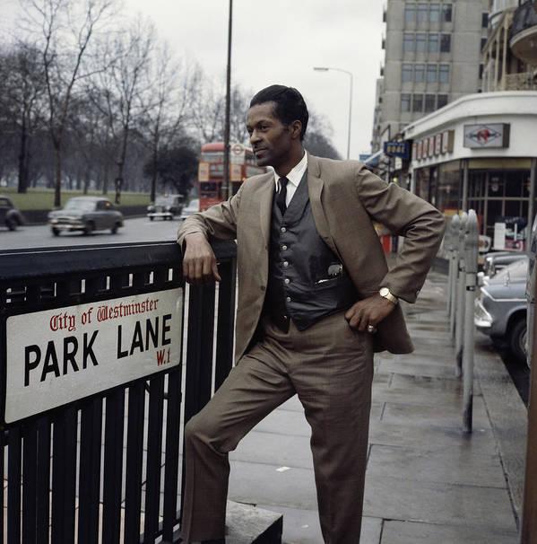 Chuck Berry - Musician Art Print featuring the photograph Chuck Berry On Park Lane by David Redfern